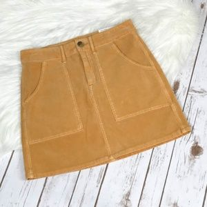 AE High-Waisted A-line Mustard Corduroy Skirt 2